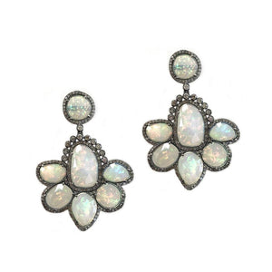 Sterling Silver Diamond & Opal Earrings