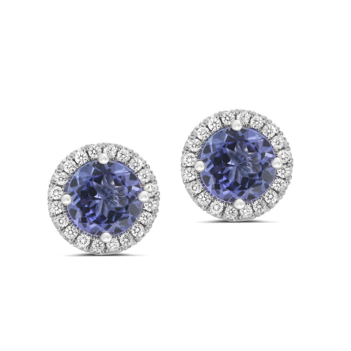 14k White Gold Diamond & Tanzanite Stud Earrings
