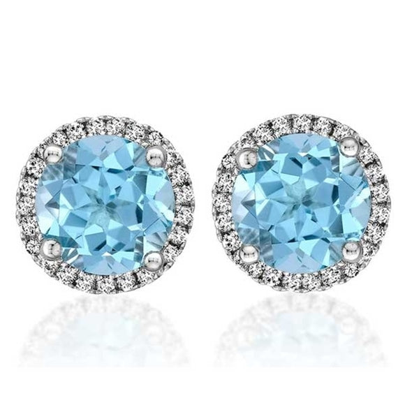 14k White Gold Diamond & Blue Topaz Stud Earrings