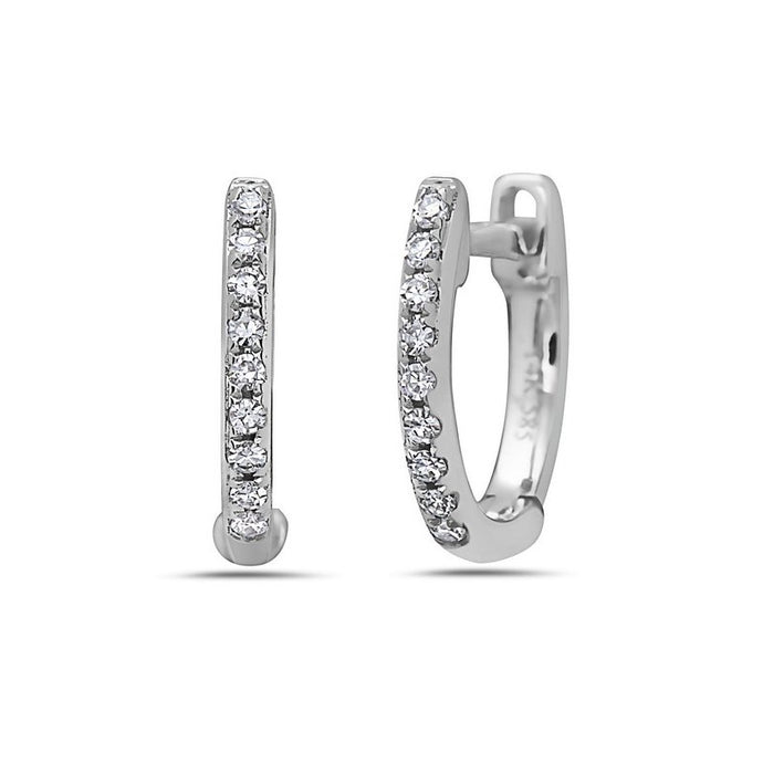 14k White Gold Diamond Huggy Earrings