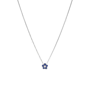 18k White Gold Diamond & Sapphire Necklace