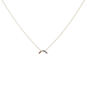 Jordan Scott 14k Yellow Gold Rainbow Necklace