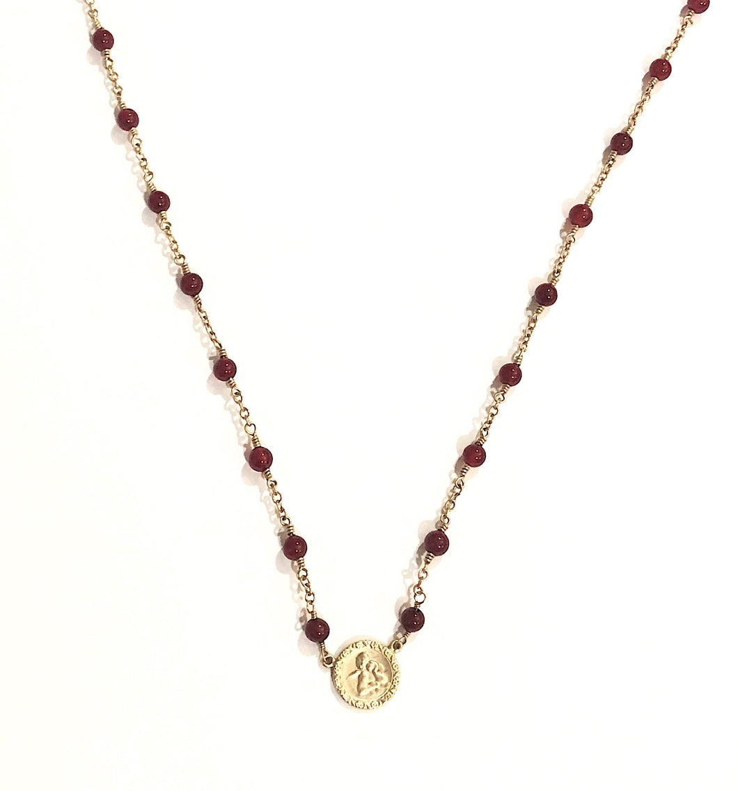 Estate 14k Yellow Gold Carnelian Necklace
