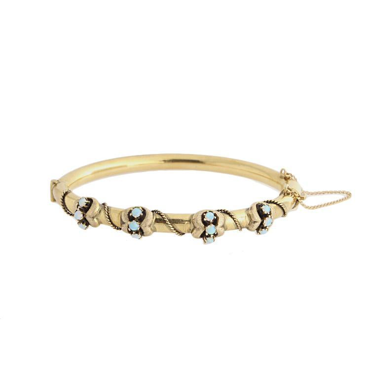Estate 14k Yellow gold Opal Bangle Bracelet
