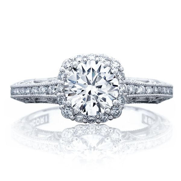 Tacori Channel & Pave Diamond Engagement Ring w/ Cushion Bloom