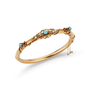 Estate 14k Yellow Gold Turquoise Bangle