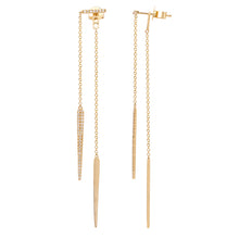 Load image into Gallery viewer, 14k Yellow Gold Diamond Drop Earrings