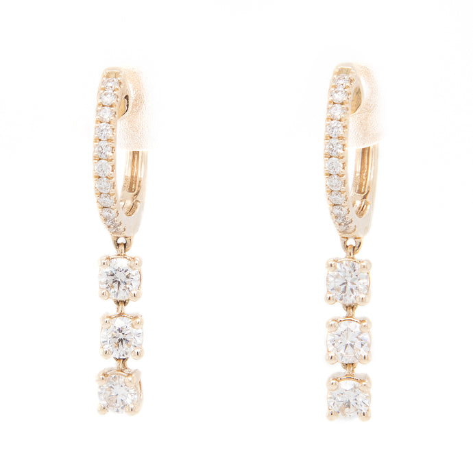 28 - .79ct 14k yellow gold diamond drop hoops