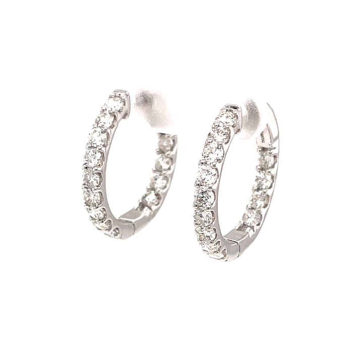 2ct 14k white gold diamond hoops small