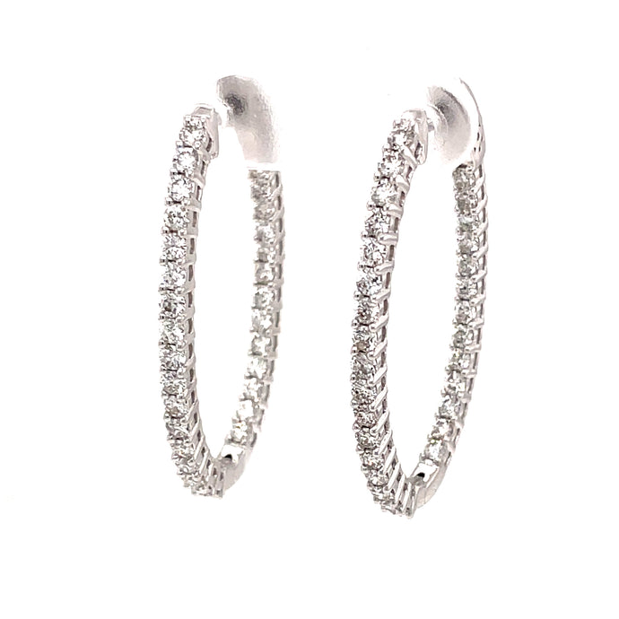 2ct 14k white gold diamond oval shape hoops