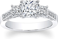Load image into Gallery viewer, 3-Stone Princess Cut Diamond Engagement ring