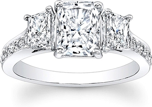 3-Stone Trapezoid Diamond Engagement Ring