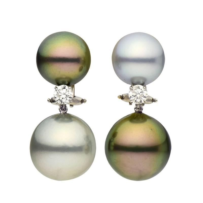 18k White Gold Diamond & Tahitian Pearl Drop Earrings