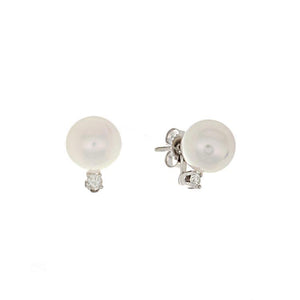 14k White Gold Diamond & Pearl Stud Earrings