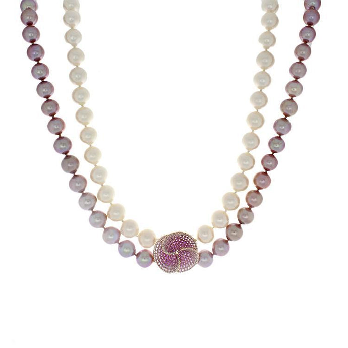 Double Strand South Sea & Pink Fresh Water Pearl Necklace