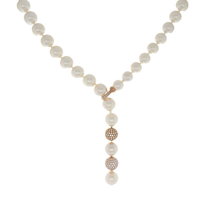 18k Rose Gold Diamond & South Sea Pearl Necklace