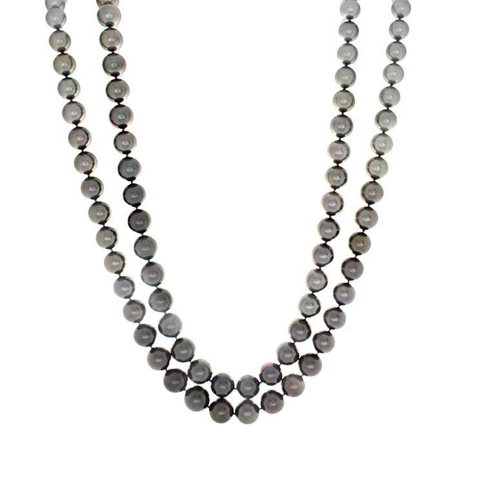 18k White Gold Ombre Tahitian Pearl Double Strand Necklace