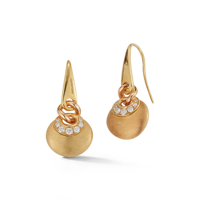 Estate Chimento 18k Yellow Gold Diamond Earrings