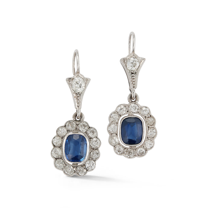 Estate Diamond & Sapphire Drop Earrings