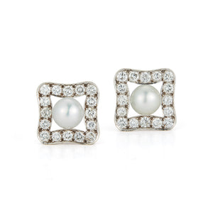 Estate 18k White Gold Diamond & Pearl Earrings