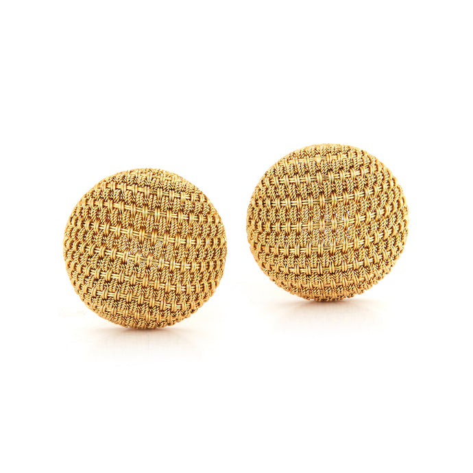 Estate 18k Yellow Gold Mesh Earrings