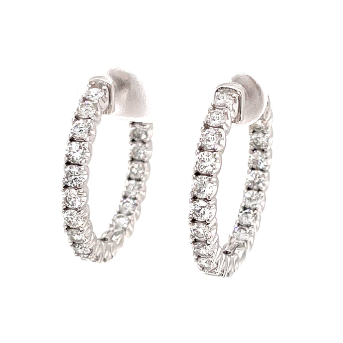 38 2.40ct 18k white gold diamond hoops