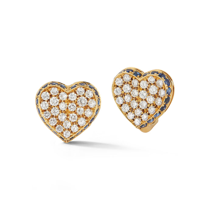 Estate 18k Yellow Gold Diamond & Sapphire Heart Earrings