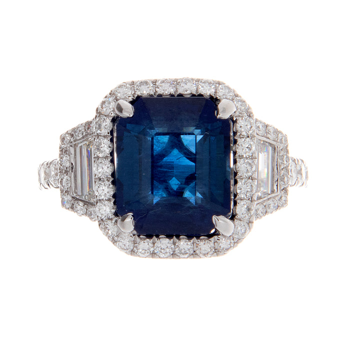 4.62ct 18k white gold diamond and sapphire ring