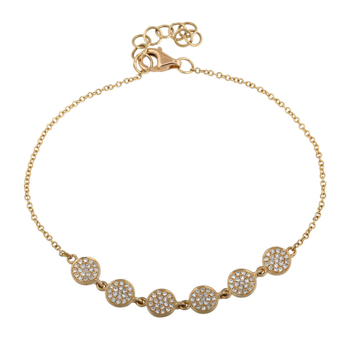 14k Yellow Gold Diamond Disc Bracelet