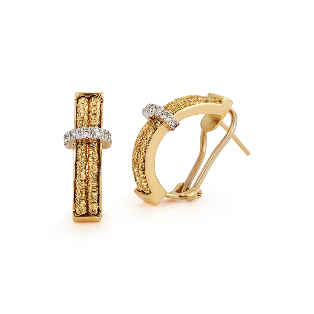 Estate 18k Yellow Gold Diamond Earrings