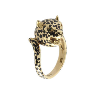 This leopard ring is in 18k yellow gold with black enamel.