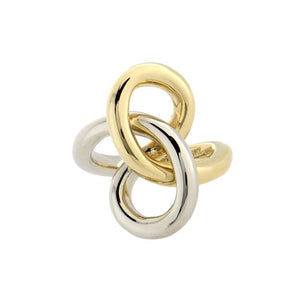 Estate 18k White & Yellow Gold Knot Ring