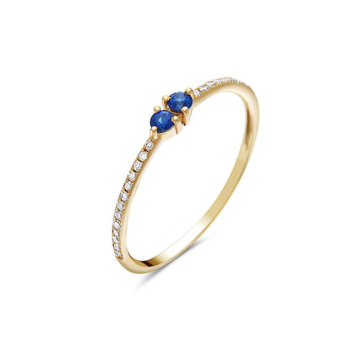 14k Yellow Gold Diamond & Sapphire Ring