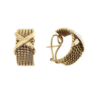 Estate 18k Yellow Gold X Rope Earrings