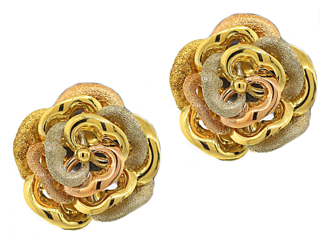 Estate 18k Tri-Color Flower Earrings