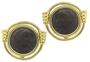 Estate 14k Yellow Gold Roman Coin Earrings