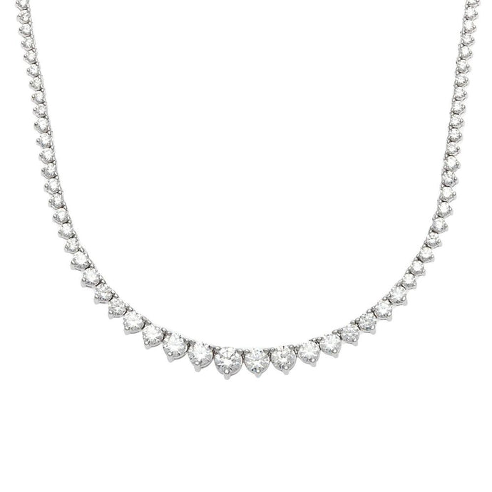 14k White Gold Diamond Tennis Necklace- 6.75ct