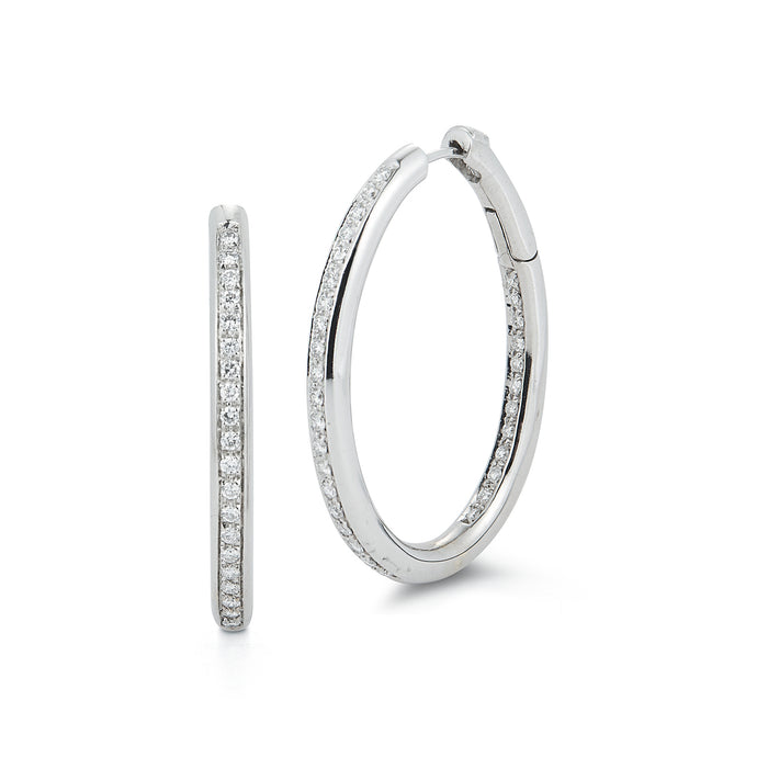 Estate 18k White Gold Diamond Hoop Earrings