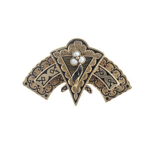 Estate 14k Yellow Gold Black Enamel Brooch