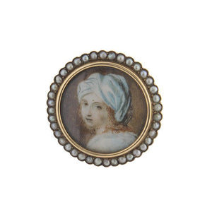 Estate 14k Yellow Gold Seed Pearl Portrait Brooch