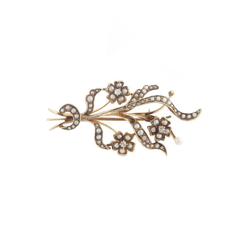 Estate 14k Yellow Gold Pearl Flower Brooch