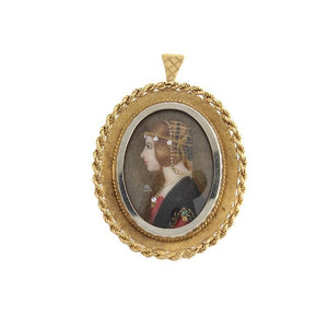 Estate 18k Yellow Gold Painted Cameo Brooch