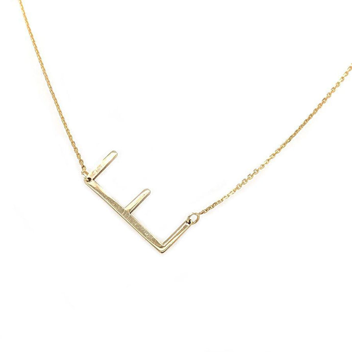 14k Yellow Gold Sideways E Necklace