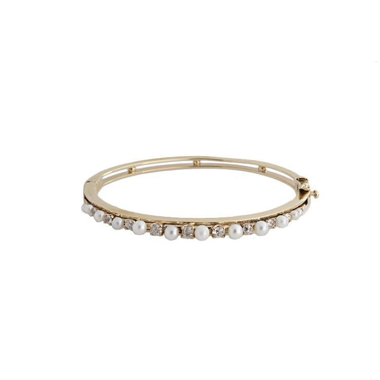 Estate 14k Yellow Gold Diamond & Pearl Bracelet