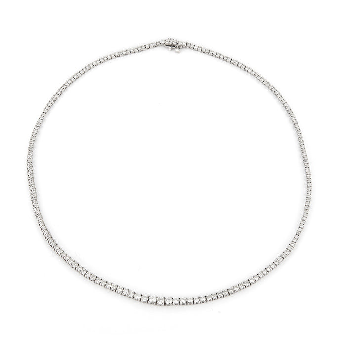 Estate 14k White Gold Diamond Tennis Necklace