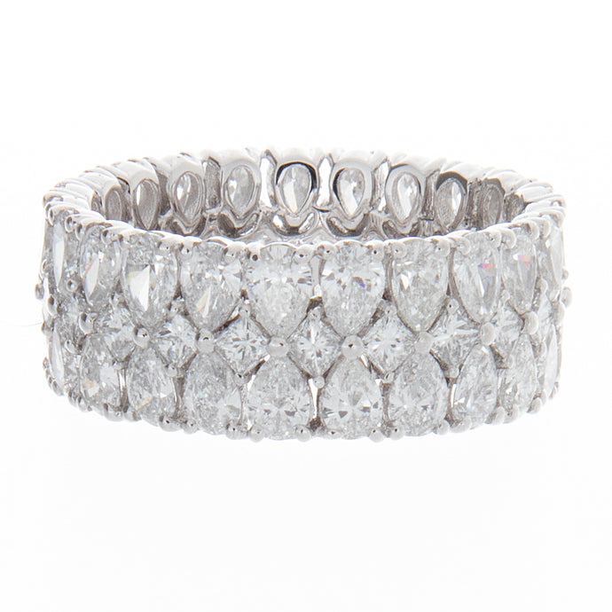 5.05ct pear shape and brilliant cut diamond platinum eternity ring
