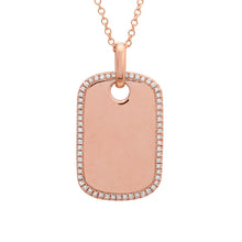 Load image into Gallery viewer, 14k Yellow Gold Diamond Dog Tag
