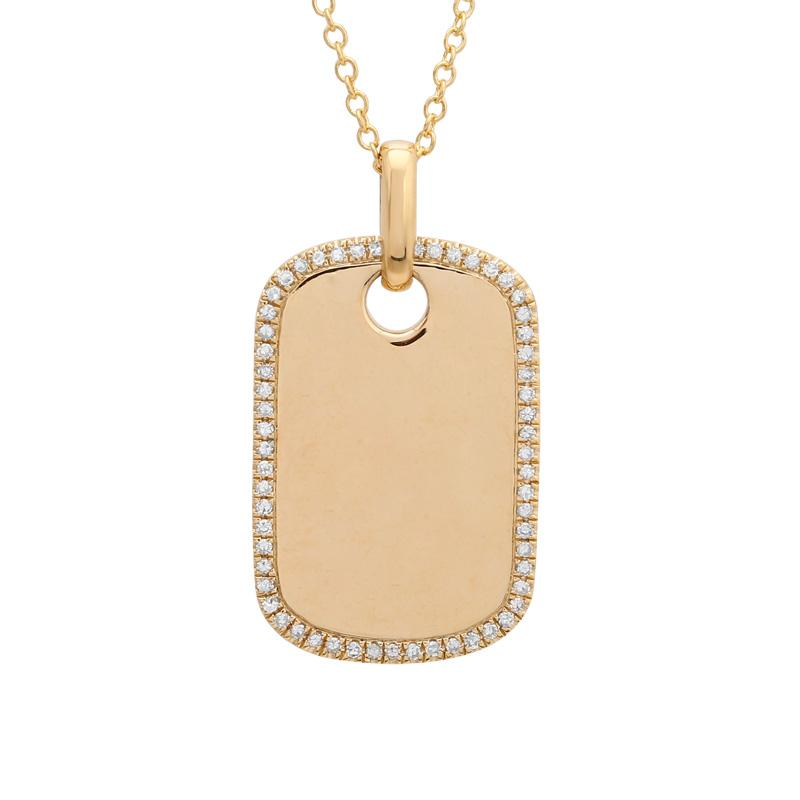 14k Yellow Gold Diamond Dog Tag