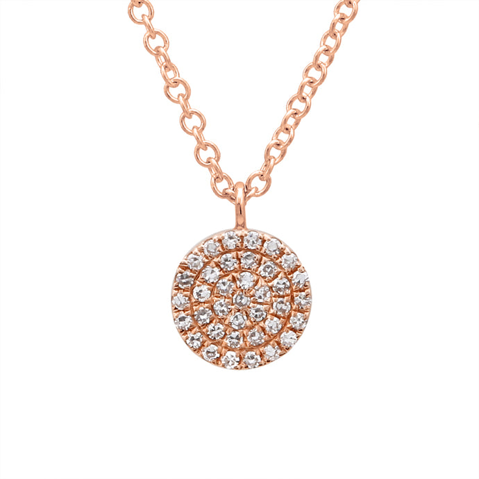 14k Rose Gold Diamond Disc Pendant