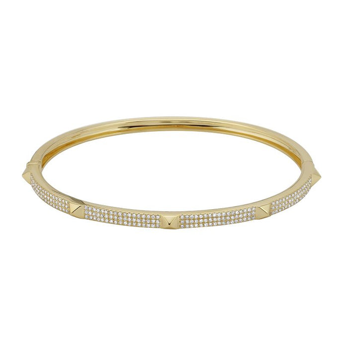 14k Yellow Gold Diamond Spike Bangle